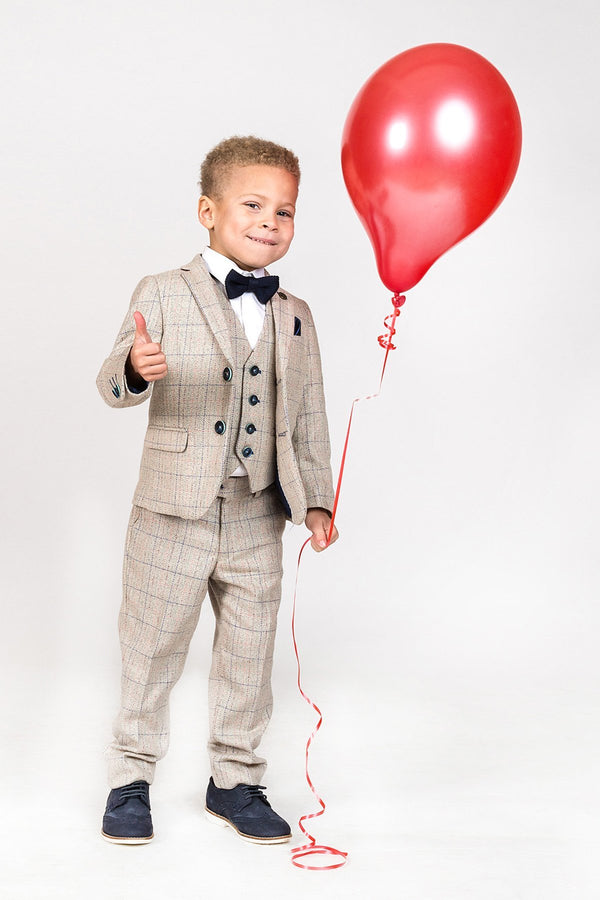HARDING - Childrens Cream Tweed Check Three Piece Suit | Marc Darcy - Mens Tweed Suits