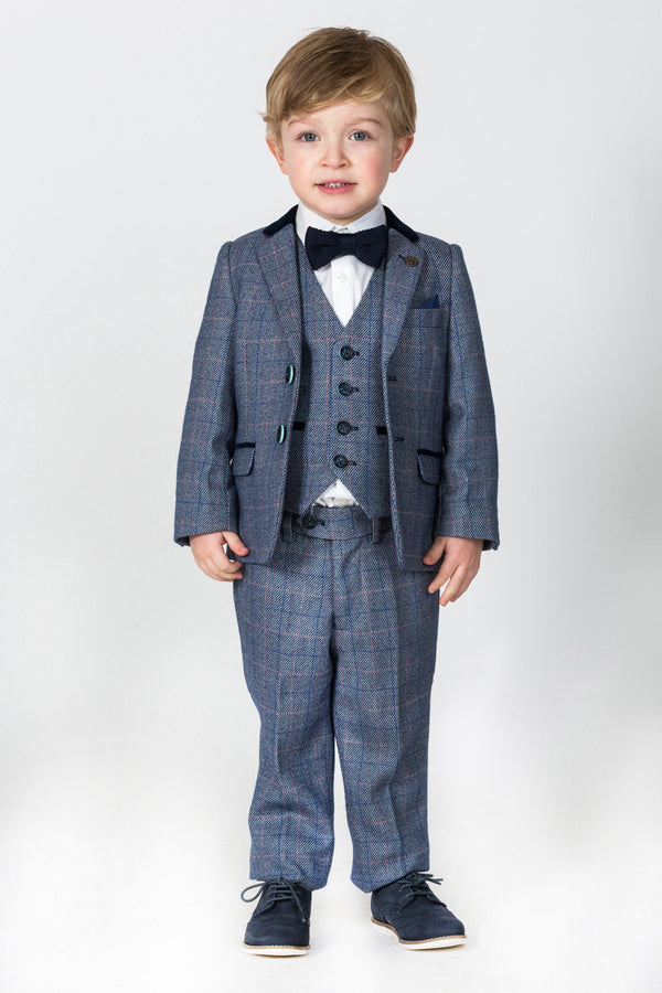 HILTON - Childrens Blue Tweed Check Three Piece Suit | Marc Darcy - Mens Tweed Suits