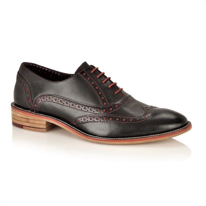 London Brogues Oxford Black Lace Up Shoes