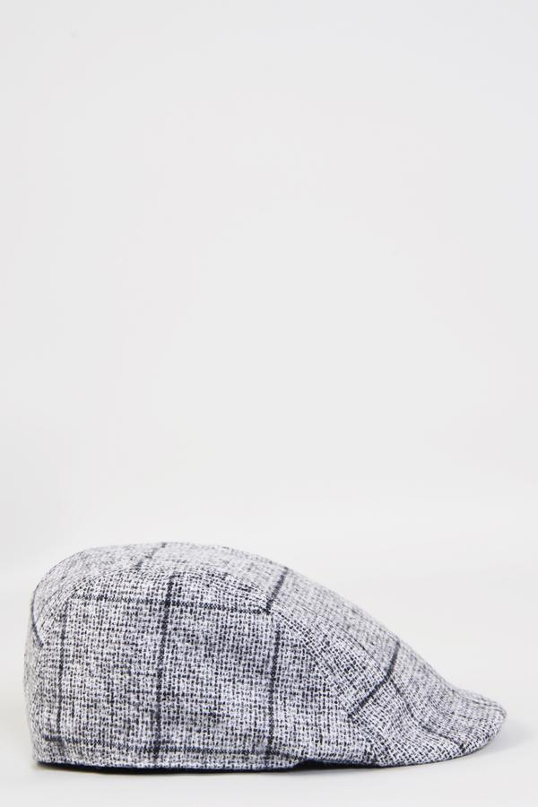 JOSE - Grey Tweed Check Flat Cap | Marc Darcy | Mens Tweed Suits - Mens Tweed Suits