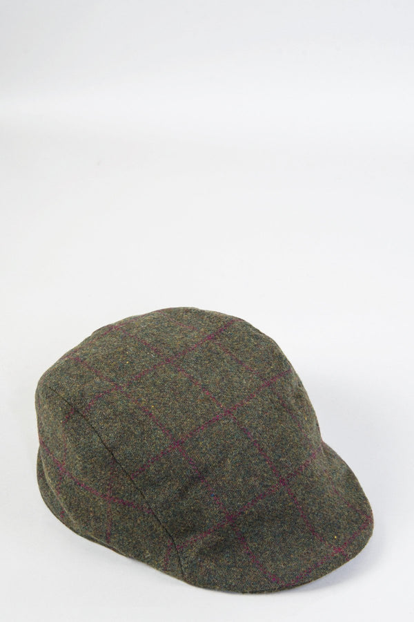 Mitchell Tweed Olive Green Wine Check Flat Cap | Marc Darcy - Mens Tweed Suits