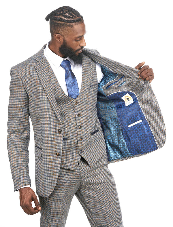 Hardwick Navy and Tan Tweed Check Three Piece Suit | Mens Tweed Suits