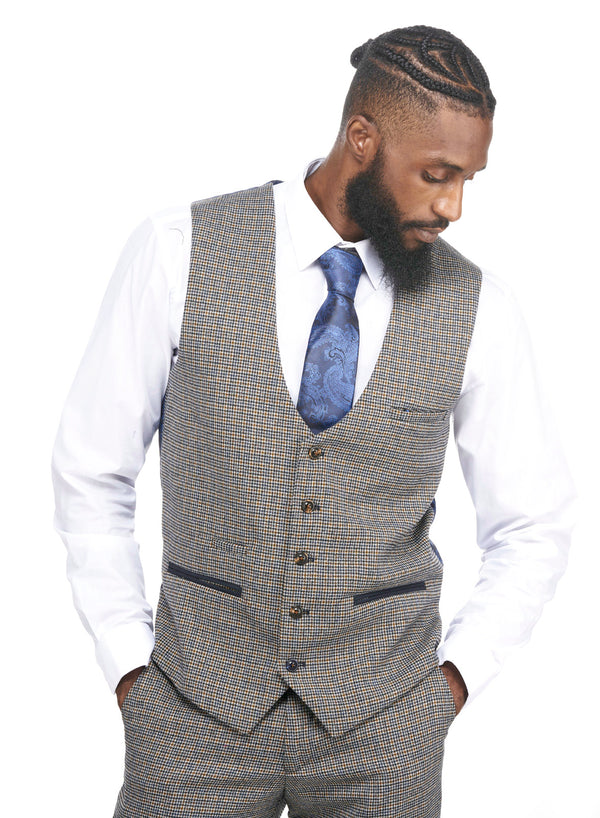 Marc Darcy | Hardwick Navy and Tan Tweed Check Waistcoat | Mens Tweed Suits