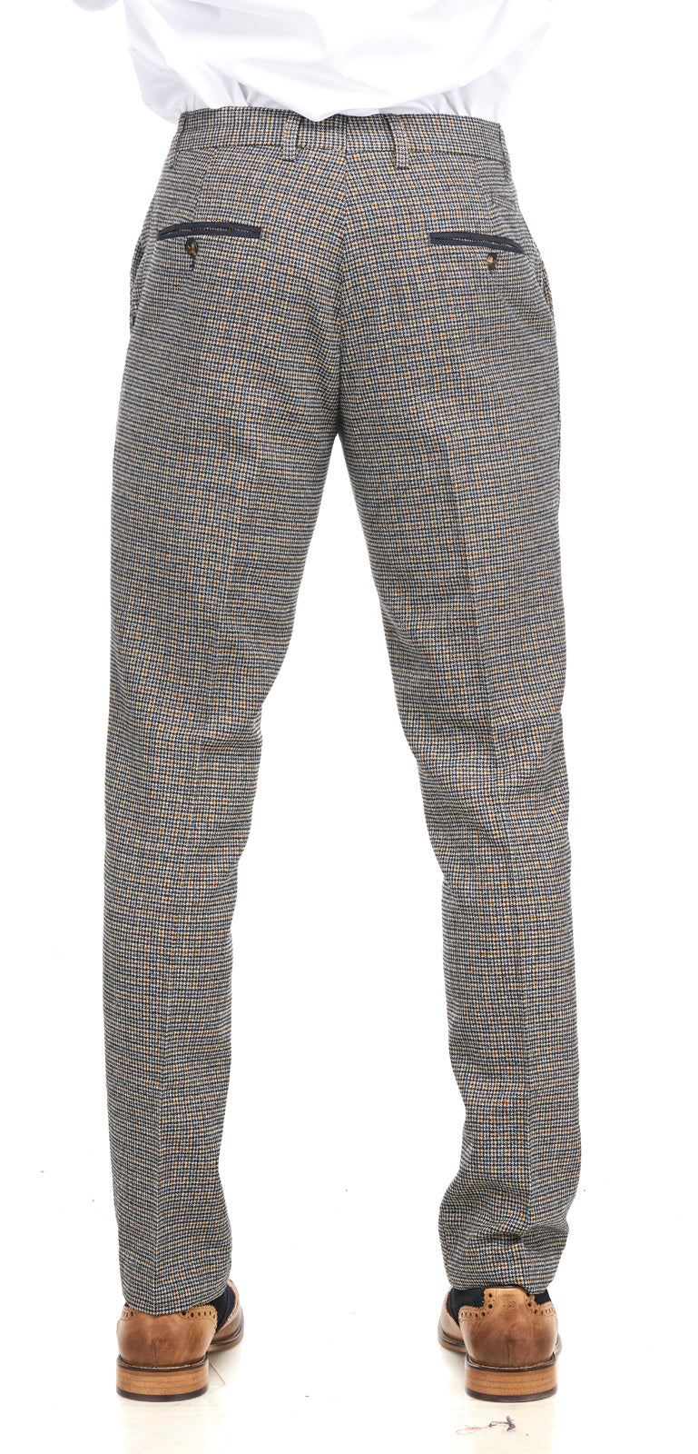 Marc Darcy | Hardwick Navy and Tan Tweed Trousers | Mens Tweed Suits