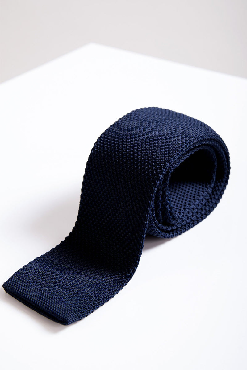 KT Navy Knitted Tie - Mens Tweed Suits
