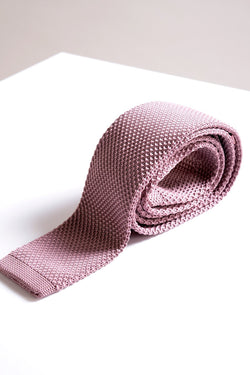 KT Pink Knitted Tie - Mens Tweed Suits