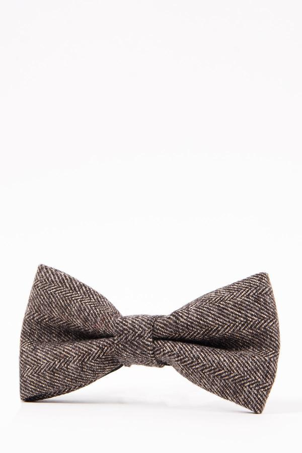 RAYFORD – Tan Herringbone Tweed Bow Tie | Marc Darcy men tweed suits