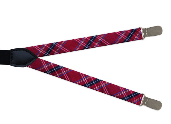 Red Tartan Clip On Braces - Mens Tweed Suits