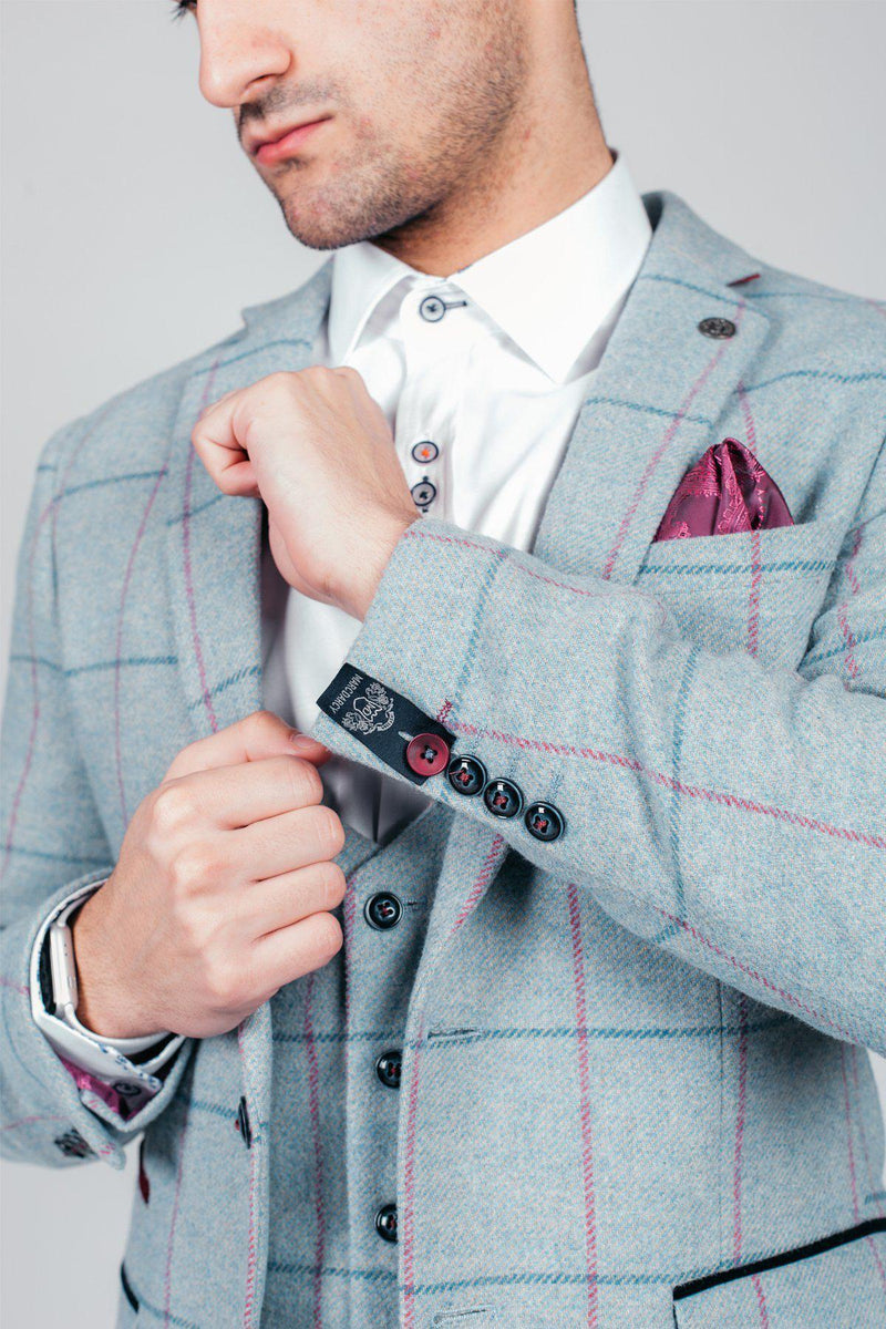 Marc Darcy Nicolas Light Blue Check Tweed Suit