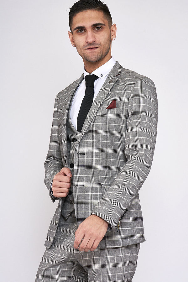 Ross Grey Check Tweed Suit by Marc Darcy | Mens Tweed Suits