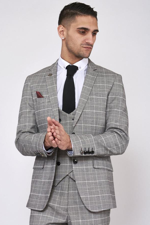 Ross Black & Grey Check Wedding Suit - Mens Tweed Suits