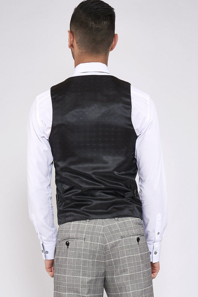 Ross Grey Check Waistcoat | Marc Darcy - Mens Tweed Suits
