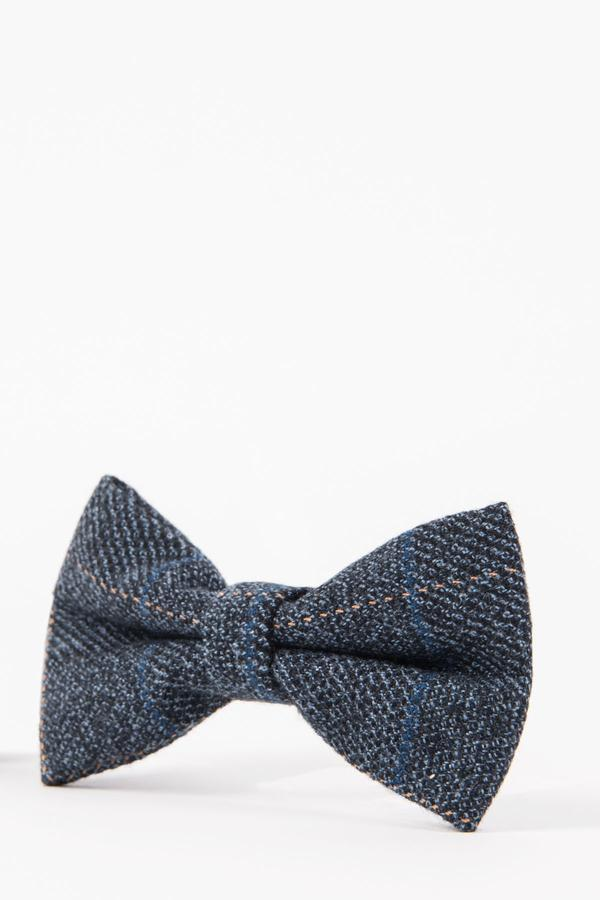 SCOTT - Blue Check Tweed Bow Tie | Marc Darcy menstweedsuits
