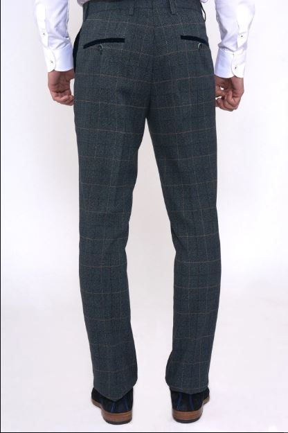 Scott Blue Check Tweed Trousers - Mens Tweed Suits