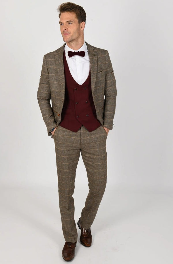 Brown Tweed Suit with Wine Waistcoat | Marc Darcy | Mens Tweed Suits
