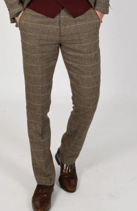 Brown Tweed Suit with Wine Waistcoat