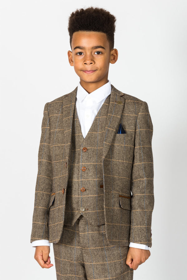 TED - Childrens Tan Tonal Check Tweed Three Piece Suit | Marc Darcy - Mens Tweed Suits