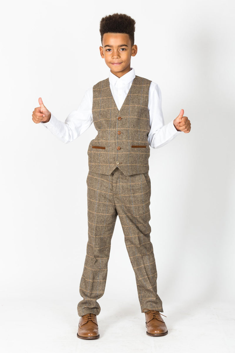 TED - Childrens Tan Tonal Check Tweed Three Piece Suit | Marc Darcy mnestweedsuits.com men shop buy