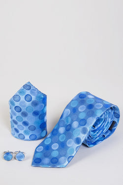 TB1 Blue Circle Print Tie, Cufflink & Pocket Square - Mens Tweed Suits