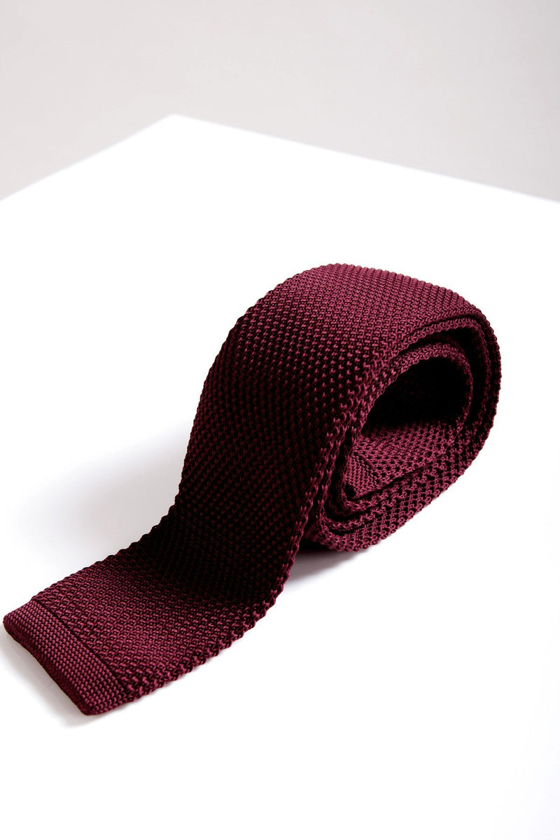 KT Wine Knitted Tie - Mens Tweed Suits