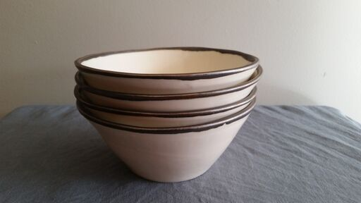 Medium Bowl - White & Metal