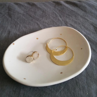 Small oval dish - Gold Dot