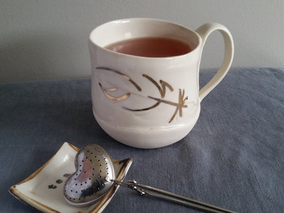Gold Feather Mug
