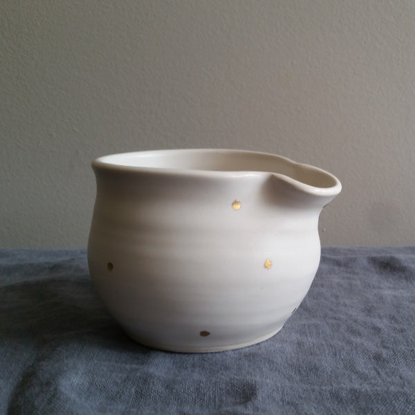 Handmade pottery creamer 18k gold dot Muddy Marvels Pottery