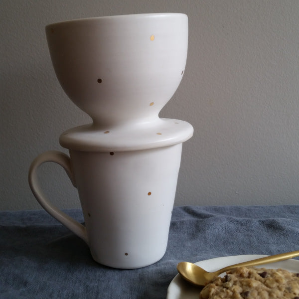 Pour Over in 18k Gold Dot by Muddy Marvels Handmade Pottery