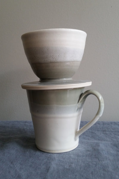 Pour Over in Shadow Gray Glaze by Muddy Marvels Handmade Pottery