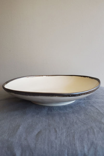 Shallow Bowl - Metal and White