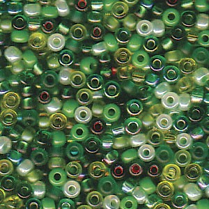 Size 11 Seed Bead Mix, Evergreen (10gm)