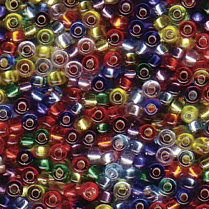 Size 11 Seed Bead Mix, Silver Lined Rainbow (10gm)