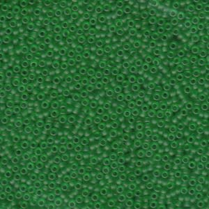 Size 15 Seed Bead, Matte Transparent Green (10gms)