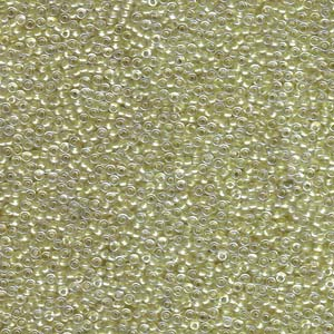 Size 15 Seed Bead, Sparkle Peridot Lined Crystal (10gms)