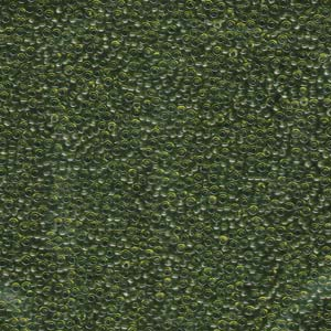 Size 15 Seed Bead, Transparent Olive Green (10gms)