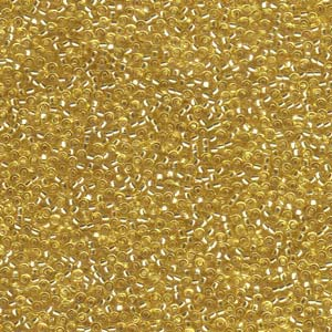Size 15 Seed Bead, Silver Lined Gold (10gms)