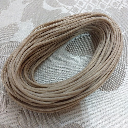 1.0mm Natural Waxed Cotton Cord - 10m Packet