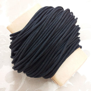 2.0mm Black Waxed Cotton Cord - 30m Packet
