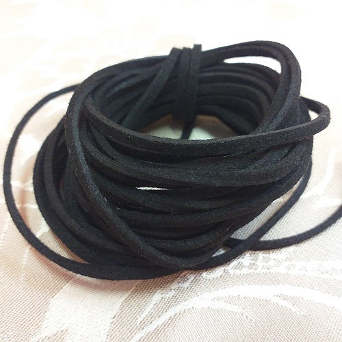 2.5mm Black Faux Suede - 5m Packet