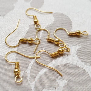 Earring Hooks, Gold W Spring + Ball, 18mm (10prs)