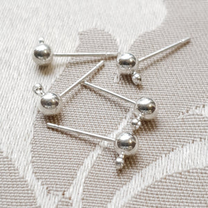 Earring Post With 4mm Ball+Loop, Silver (10prs)