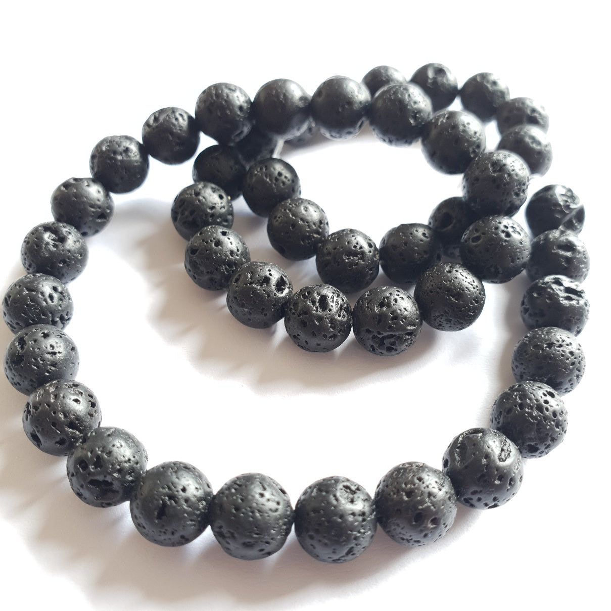 Lava Beads, Round, 8mm (10pcs=$3, 1xString=$10)