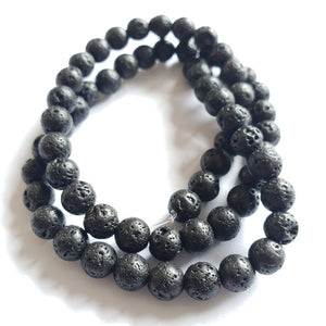 Lava Beads, Round, 6mm (10pcs=$2, 1xString=$8)