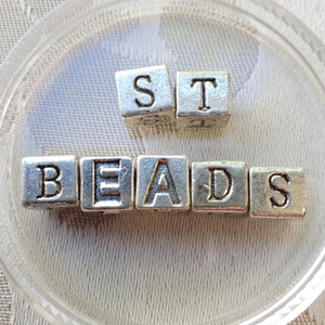 Metal Alphabet Bead, Square, Silver, 7mm (1pc)