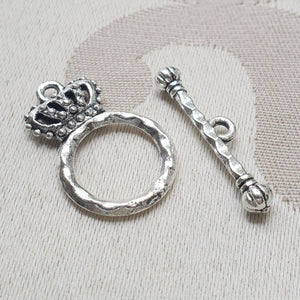 Toggle Clasp, Silver, Ring:15mm/Bar:25mm (5 sets)