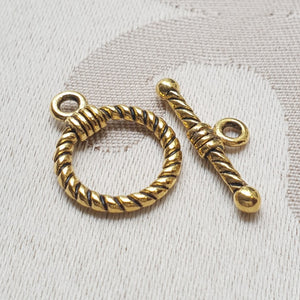 Toggle Clasp, Gold, Ring:14mm/Bar:20mm (5 sets)