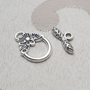 Toggle Clasp, Silver, Ring:12mm/Bar:15mm (5 sets)