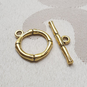 Toggle Clasp, Gold, Ring:17mm/Bar:27mm (5 sets)