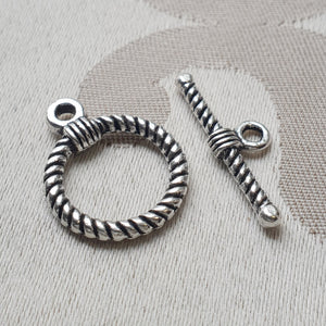 Toggle Clasp, Nickel, Ring:18mm/Bar:25mm (5 sets)
